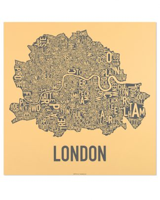 "Central London Neighbourhood Poster, Yellow & Grey, 20"" x 20"""