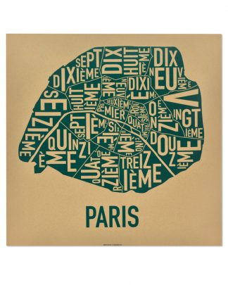 "Paris Arrondissements Map Screenprint, Tan & Teal, 20"" x 20"""