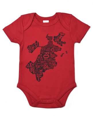Boston Neighborhood Map Baby Onepiece, Red & Charcoal - light ink