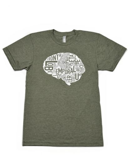 Anatomical Brain T-Shirt, Unisex Fit, Olive & White