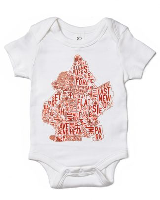 Brooklyn NYC Neighborhood Map Baby Onesie White Orange
