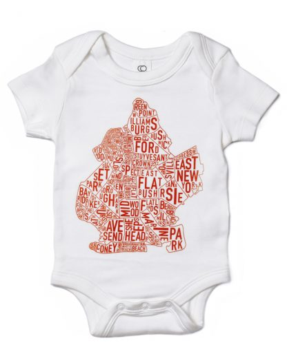 Brooklyn NYC Neighborhood Map Baby Onesie White Orange
