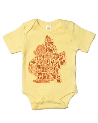 Brooklyn NYC Neighborhood Map Baby Onesie Yellow Orange