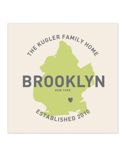 "Custom Brooklyn Family Home Print, Ivory & Green, 8"" x 8"""