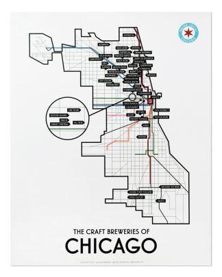 "Chicago Craft Breweries Map 11"" x 14"" Print, Winter 2018"