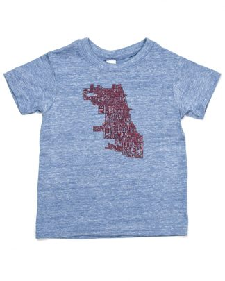 Chicago Neighborhood Map Tshirt, Kid Fit, Heather Blue & Red