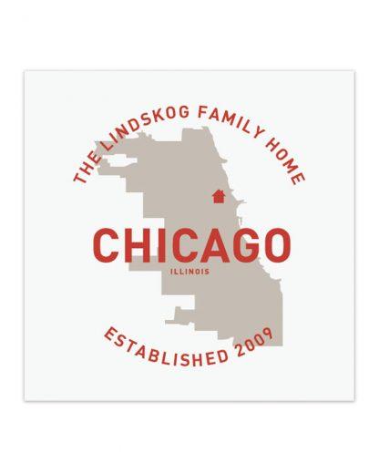 "Custom Chicago Family Home Print, White & Red, 8"" x 8"""