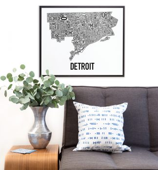 Detroit Neighborhod Map Poster