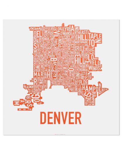 """Denver Neighborhood Map, White & Orange, 18"""" x 18"""""""