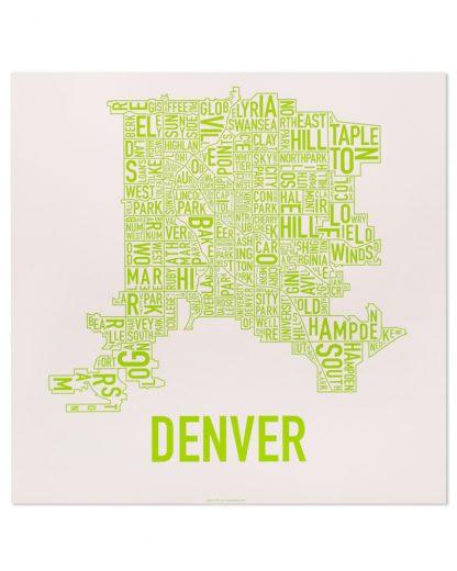 "Denver Neighborhood Map Screenprint, Lime Green, 18"" x 18"""