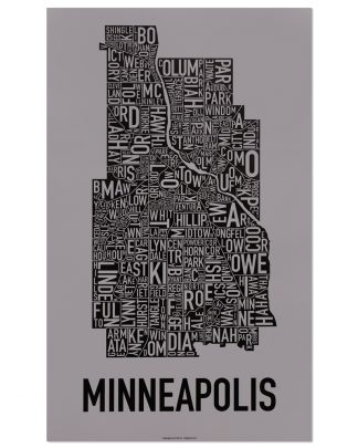 "Minneapolis Neighborhood Map Screenprint, Grey & Black, 16"" x 26"""