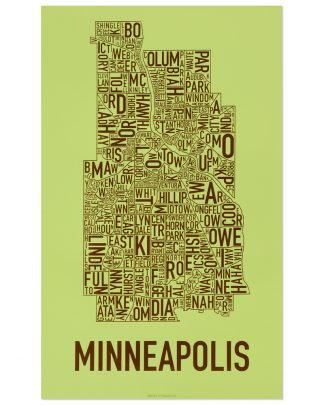 "Minneapolis Neighborhood Map Screenprint, Green & Brown, 16"" x 26"""