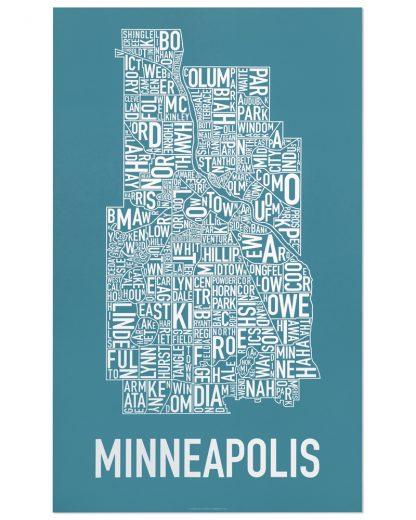 "Minneapolis Neighborhood Map Poster, Teal & White, 16"" x 26"""