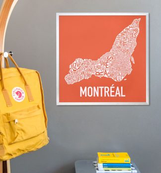 Montreal Typographic Neighborhood Map Art