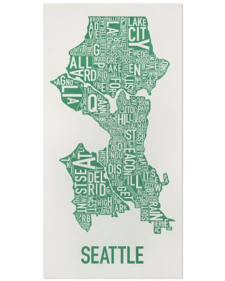 "Seattle Neighborhood Map Poster, Grey & Green, 16"" x 32"""