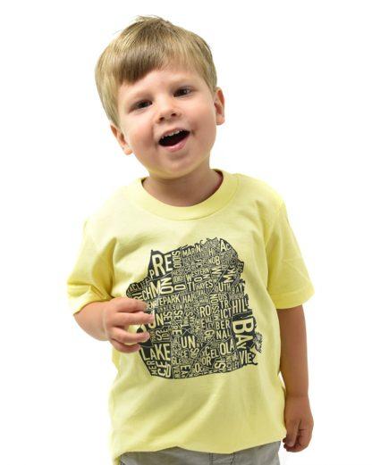 San Francisco Neighborhood Map Kid's T-Shirt, Yellow & Black