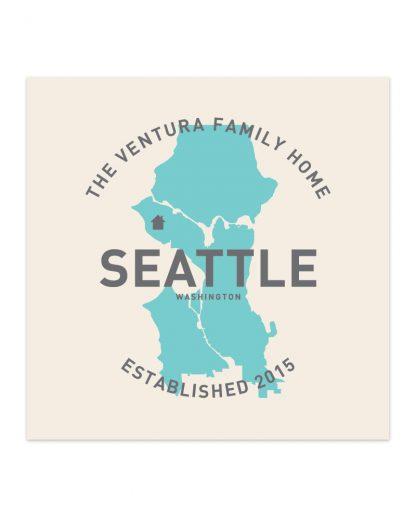 "Custom Seattle Family Home Print, Ivory & Light Blue, 8"" x 8"""