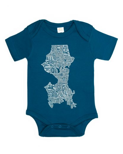 Seattle Washington Neighborhood Map Baby Onepiece Teal Light Blue
