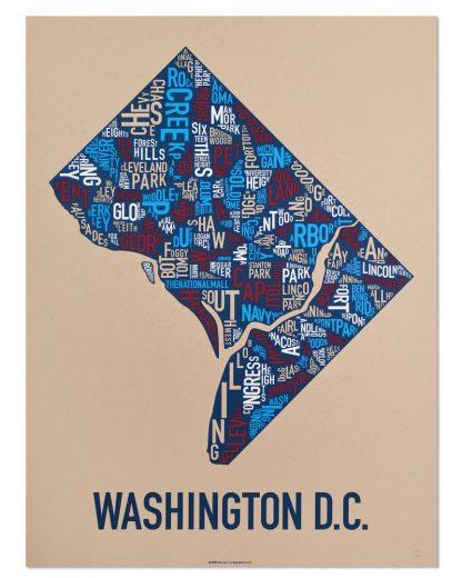 "Washington DC Neighborhood Map Poster, Tan/Red/White/Blue, 18"" x 24"""