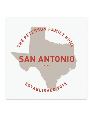 "Custom City & State Family Home Print, White & Red, 8"" x 8"""